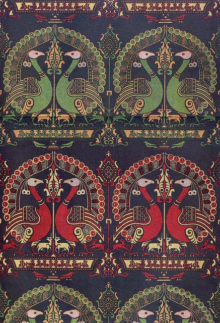 Woven textile design from the 14th century: