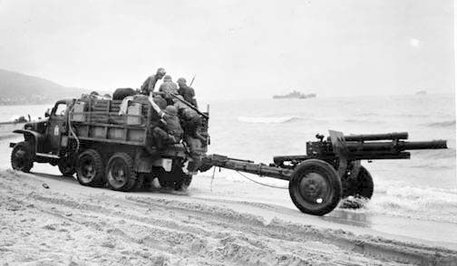 105mm crew arriving in North Africa during Operation Torch, November 1942.