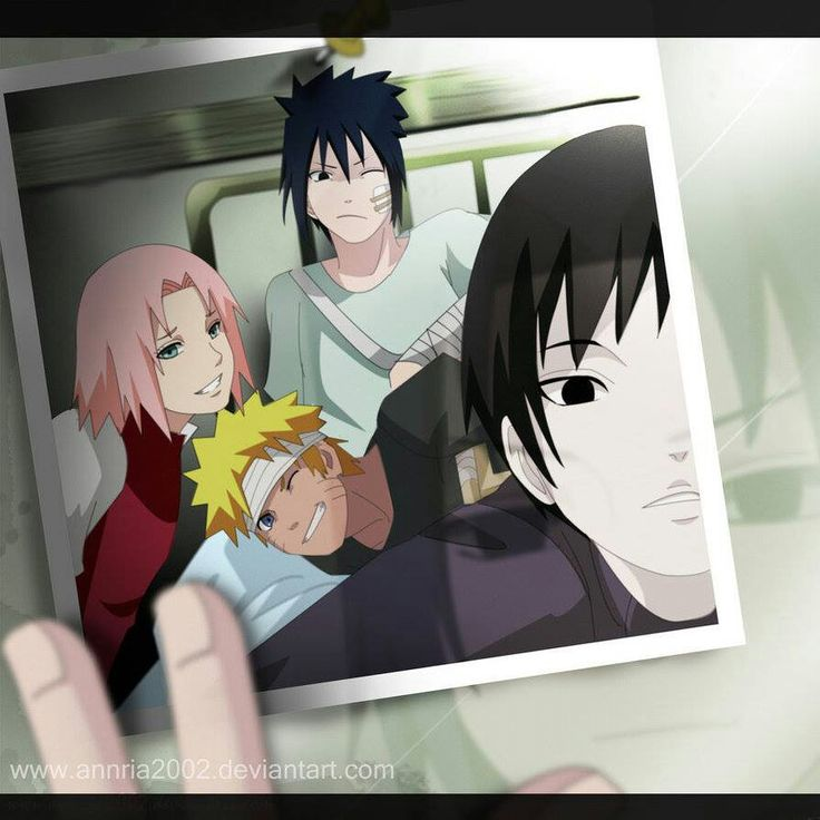 A Team 7 selfie! In the hospital, of course. Sasuke holds up the picture to a mirror and reminisces to the good old times. #naruto