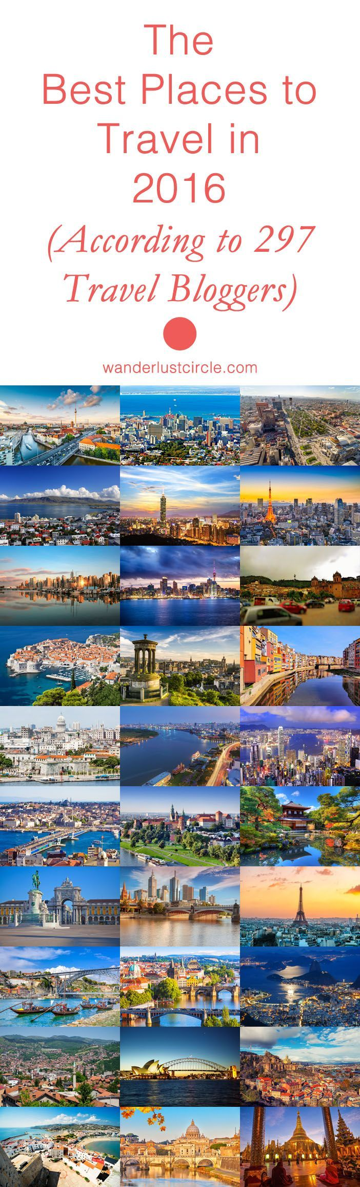 If you're planning on doing some traveling in 2016, you're in for a treat with this one! 297 incredible travel bloggers contributed to help us all decide where to go and what to see in this amazing world we live in. Keep in mind, this isn't your typical b
