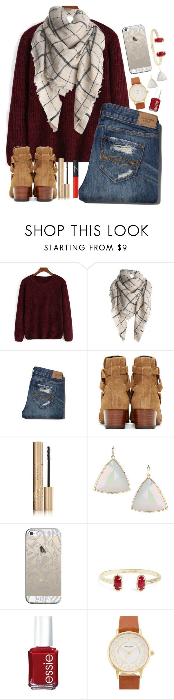 """Untitled #113"" by hgw8503 ❤ liked on Polyvore featuring Abercrombie & Fitch, Yves Saint Laurent, Stila, Kendra Scott, Casetify, Essie, Kate Spade and NARS Cosmetics"