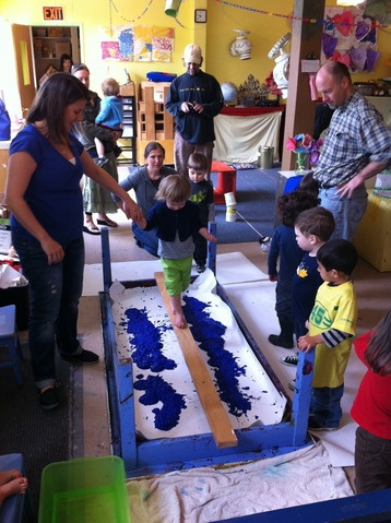 """Fab idea: balance beam, gobs of paint, bare feet - make it across w/o falling, or fall in the """"water"""" and paint w/your feet"""