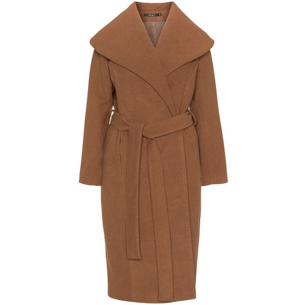 Mat Brown Plus Size Tie belt coat ($195) ❤ liked on Polyvore featuring outerwear, coats, brown, plus size, plus size coats, womens plus coats, fur-lined coats, long sleeve coat and plus size two piece