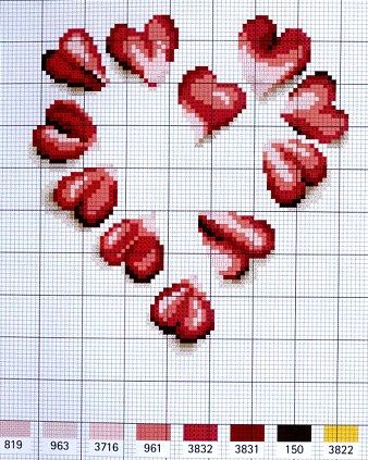 cross stitch chart ¸.•♥•.¸¸Just Hearts¸.•♥•.¸¸