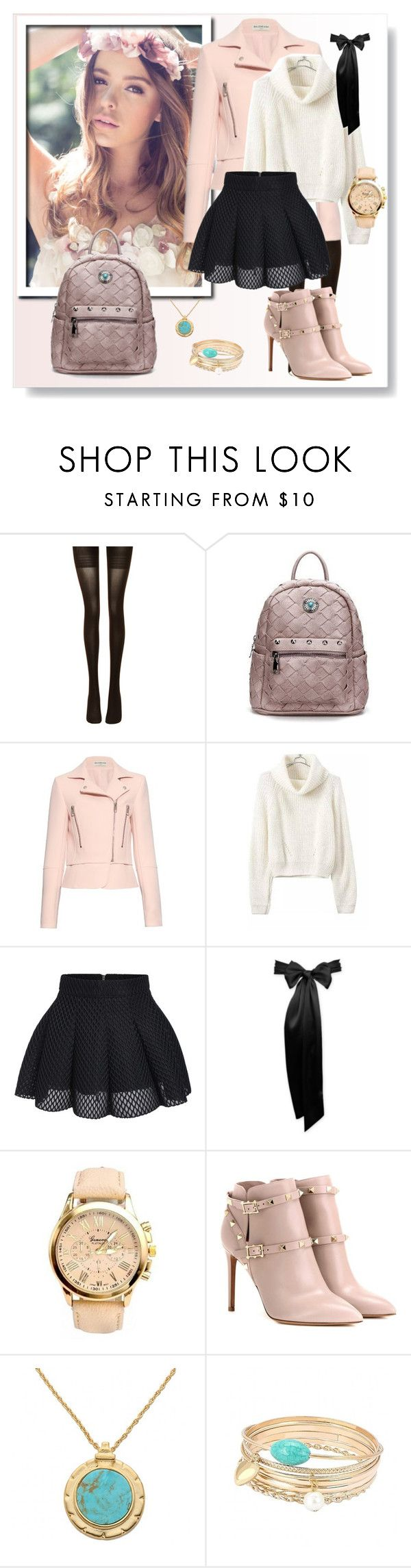 """Rose"" by karolay-marquez-bustamante ❤ liked on Polyvore featuring By Emily, Wolford, Balenciaga, Valentino and yoins"