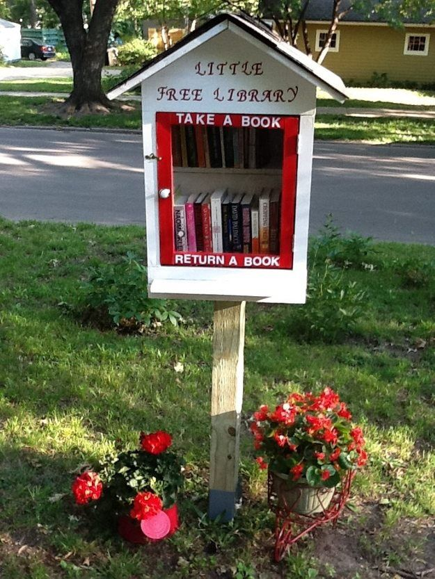 This little library is in Lawrence, KS. Image pinned from Book Riot's Facebook page.