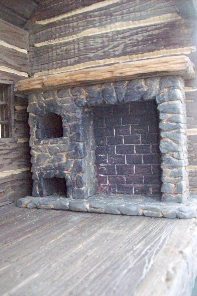 Dollhouse Miniature Colonial Walk In Fireplace Room Box