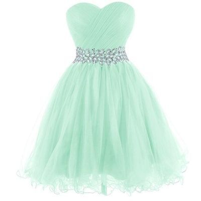 2016 Mint Homecoming Dress, beaded Tulle Prom dress,  Sweetheart short homecoming dress