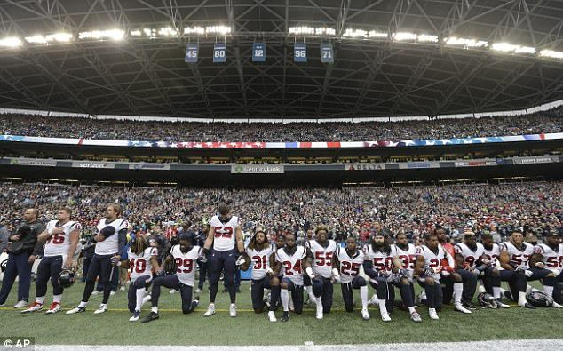 The majority of the Houston Texans players staged a mass protest during the national anthe...