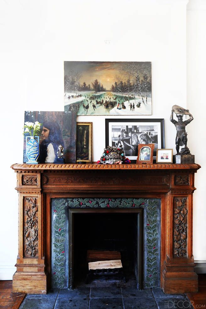 Go Inside Alexis Bittar's Awesome Brooklyn Pad // carved mantle, layered accent pieces