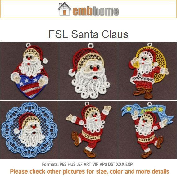 FSL Santa Claus Free Standing Lace Machine Embroidery by embhome