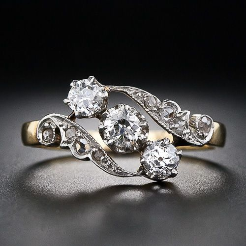 Antique Three Diamond Ring. This has the same shape as my engagement ring, but much fancier. Too bad ot cant be resized