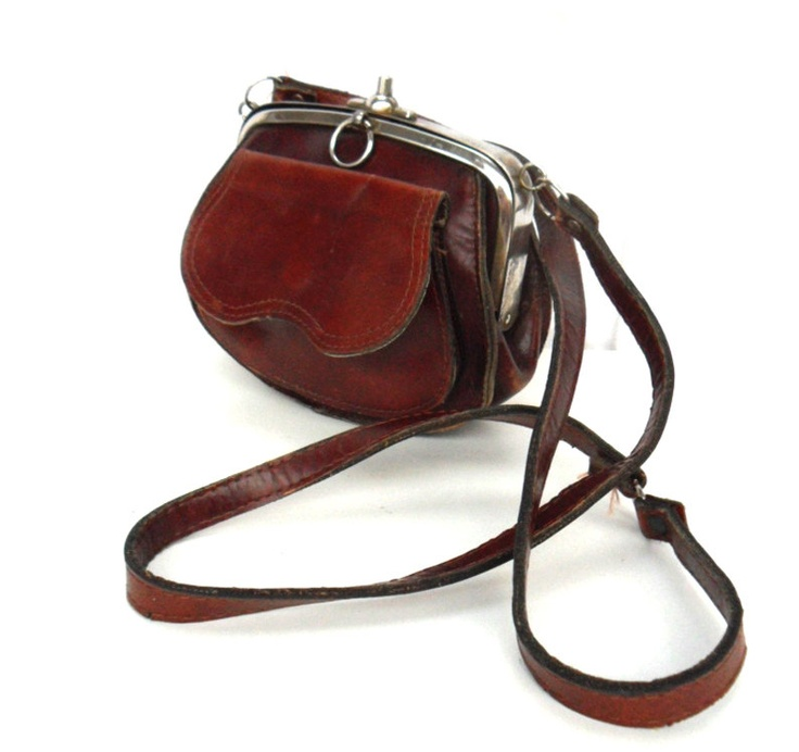Lana, French Vintage, Dark Tan Leather Satchel, 1960s Handbag