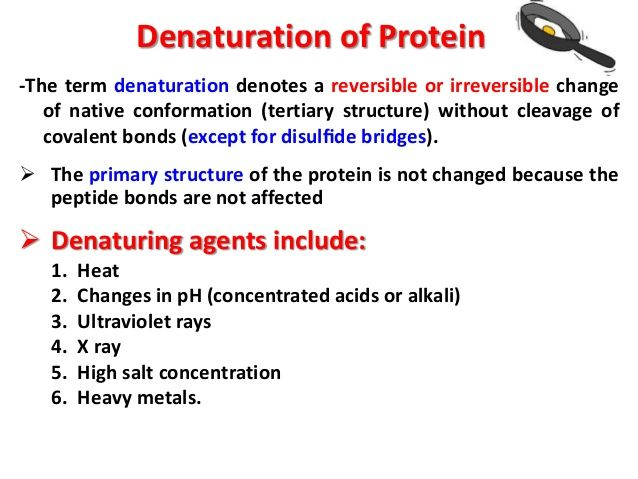 denaturation of proteins use in lab Denaturation means rendering a substance ineffective for some purpose without changing its chemical composition the term has a number of more specific meanings, but is most commonly used in connection with proteins and nucleic acids.