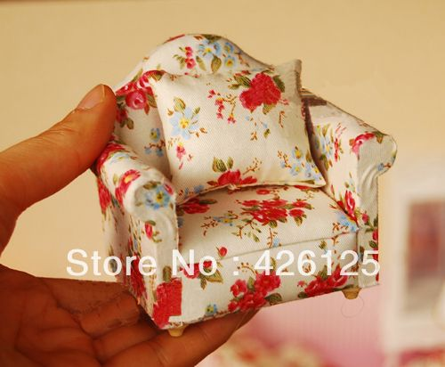 Casa de muñecas 1:12 muebles del dormitorio flor rose solo sofa ...