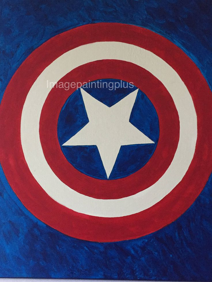 Captain Americas Shield-Original Acrylic Painting by imagepaintingsplus on Etsy