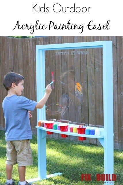 Easy to make acrylic easel for kids to paint outdoors. Use water based paints and just hose it off when they are ready for their next painting. Also works with dry erase markers.