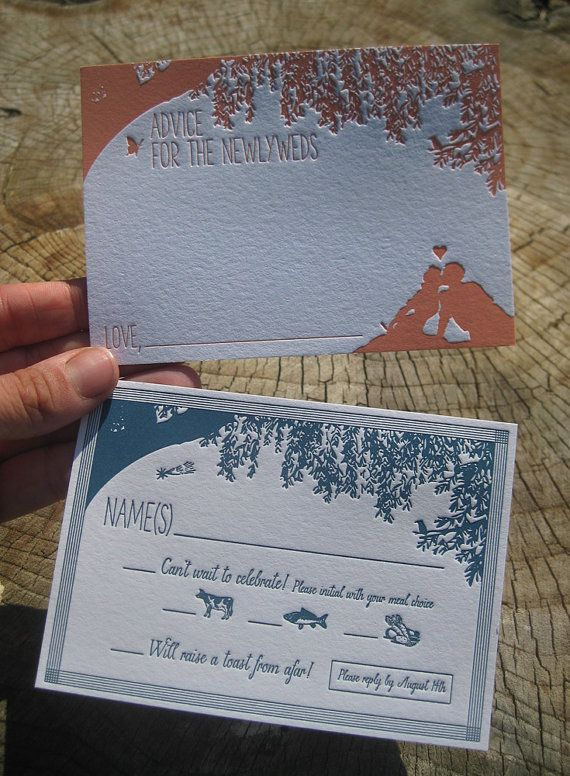 ColorQuarry Letterpress /// invitation suite for a rustic outdoor wedding + great idea of advice for the newlyweds card!