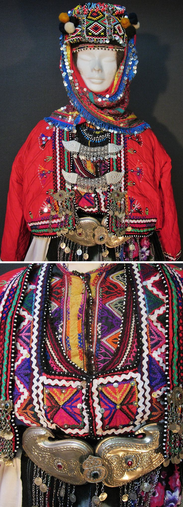 Close-up of a traditional bridal costume from the Karakeçeli (Yörük) villages of the Keles district (south of Bursa).  Village (rural) style, ca. mid-20th century.  Below: the three layers of adorned garments that cover the breast (the jewels were removed, to offer better sight): a 'gömlek' (shirt), an 'iç yelek' (inner bodice) and a 'dış yelek' (outer bodice).  Over these three, a fourth garment is worn: the red 'güdük' (quilted vest).  (Kavak Costume Collection - Antwerpen/Belgium).