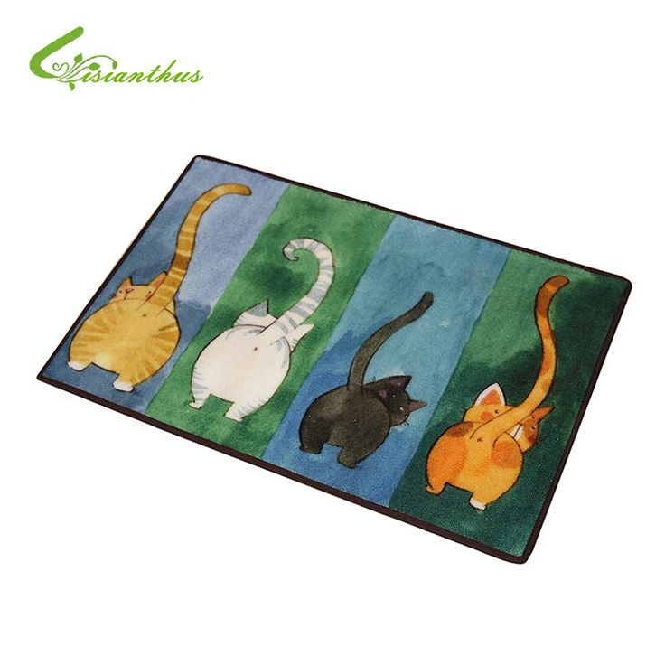 Nova venda bem-vindo tapetes animal bonito quatro gatos impresso cozinha banheiro capachos carpet casa para sala de estar anti-deslizamento tapete