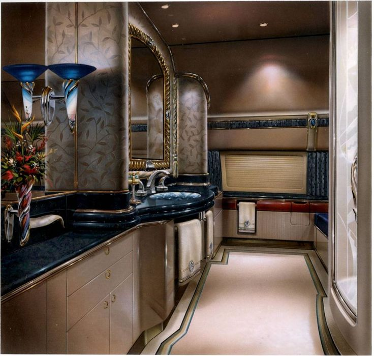 Luxury Private Jets Interior Design Sink Cabinet