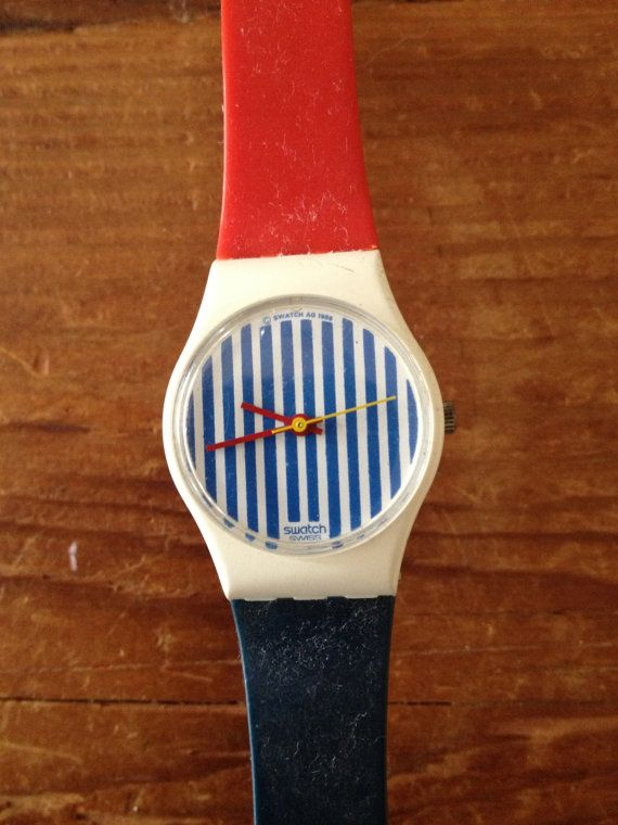 Amazing Vintage Striped Swatch Watch With Two Bands One Red One Blue on Etsy, $58.00