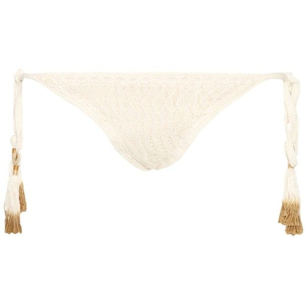 She Made Me Laharia tie-side crochet bikini briefs (165 BRL) ❤ liked on Polyvore featuring cream, chevron bikini bottoms, crochet bikini bottom, tie bikini bottom, side tie bikini bottom and swim bikini bottoms