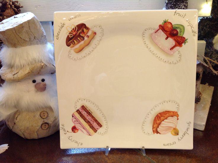 Piatto quadrato con cup cake