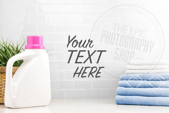 Styled Stock Photography Print Background, Blank Frame, Product Photography, Staged Photography / Blue Towels Pink Detergent Laundry / LR009
