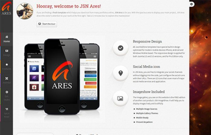 """""""JSN Ares"""" is the perfect #free Joomla #template for personal portfolio & #application website."""