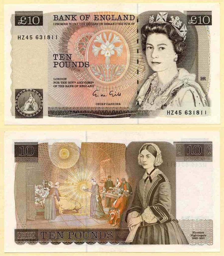 1988-1991 Great Britain 10 Pound Banknote Queen Elizabeth and Florence Nightingale Signed G. M. Gill Prefix HZ45