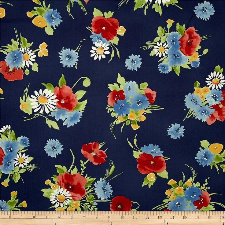 Vintage florals bettes bouquet navy from designed for michael miller this cotton print fabric is perfect for quilting apparel and home decor accents