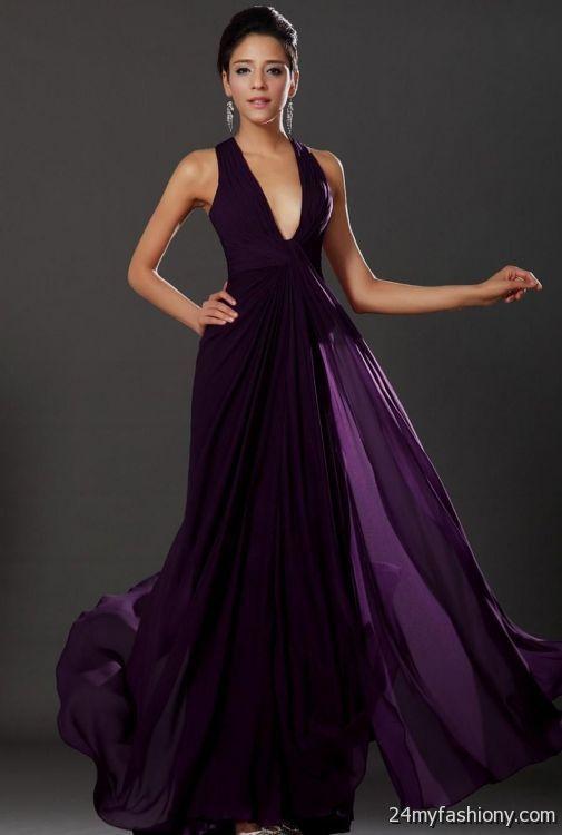 Dark purple prom dresses long 2017
