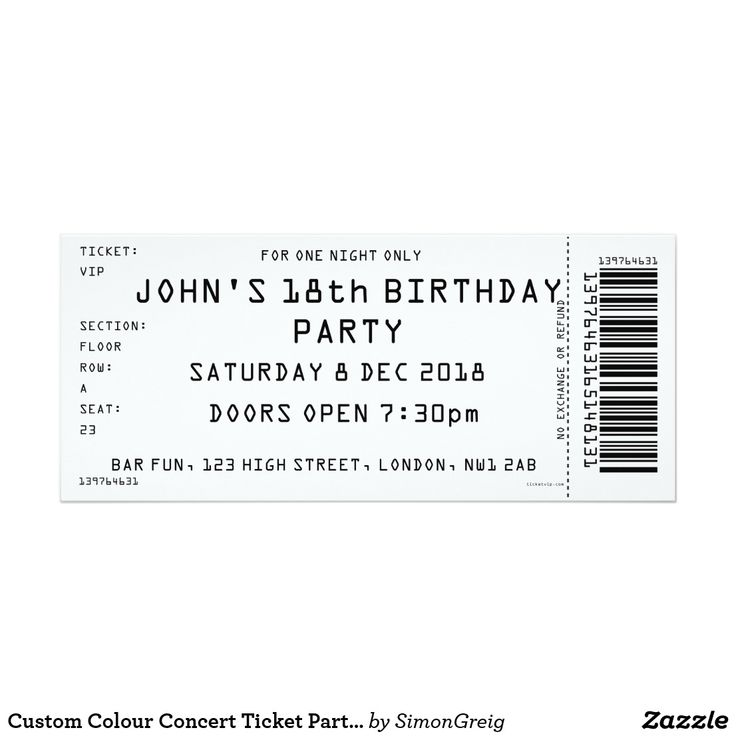 Custom Colour Concert Ticket Party Invitation