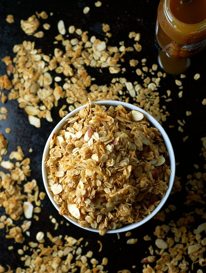 Salted caramel for breakfast? Don't mind if I do. This six ingredient salted caramel granola is crazy delicious and incredibly simple to prepare.