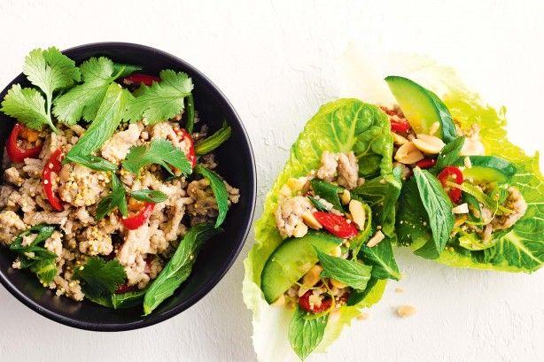 Pork, lemongrass and toasted quinoa larb