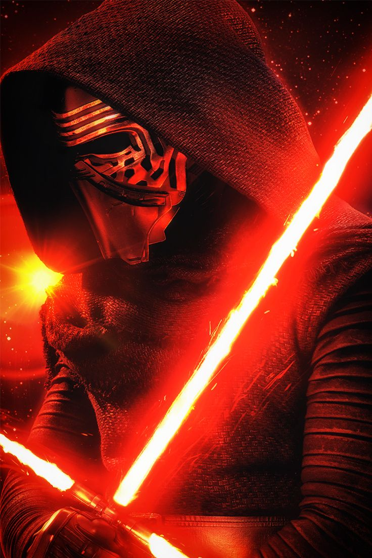 Star Wars The Force Awakens. Fan print of Kylo Ren, glowing with the Force.