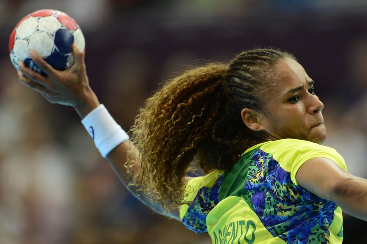 Brazil's rightwing Alexandra Nascimento shoots during the women's preliminary Group A handball match Russia vs Brazil for the London 2012 Olympics Games on August 3, 2012 at the Copper Box hall in London.