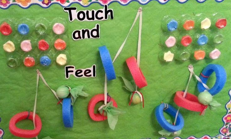 Small display for babies who like to touch, feel, pull  the slices of pool noodles and pretend candies@AcornsNursery