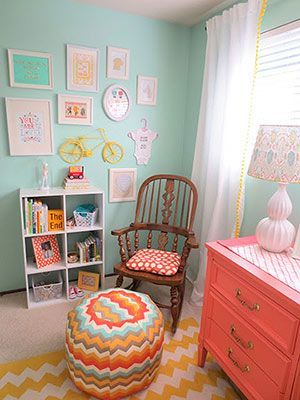 Nursery corner. Love the color combos: mustard yellow, peach, teal and white