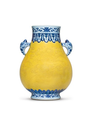 A Very Rare and Unusual Yellow-Ground Blue and White Vase, Hu. Qianlong seal mark in underglaze blue and of the period (1736-1795). Estimate: USD300,000-500,000. Photo: Christie's Images Ltd 2013.