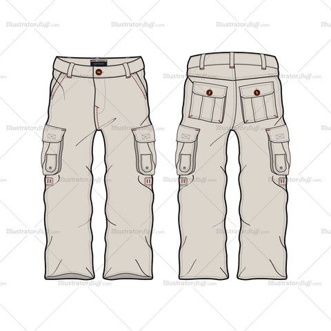 Men's Cargo Pant Fashion Flat Template