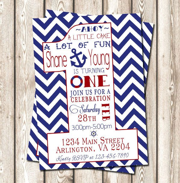 Chevron Nautical Birthday Invitation // Boy Birthday // Nautical Birthday // First Birthday // Anchor // Red // Blue // Ahoy // Sailboat by SweetEventsBoutique on Etsy https://www.etsy.com/listing/193734012/chevron-nautical-birthday-invitation-boy