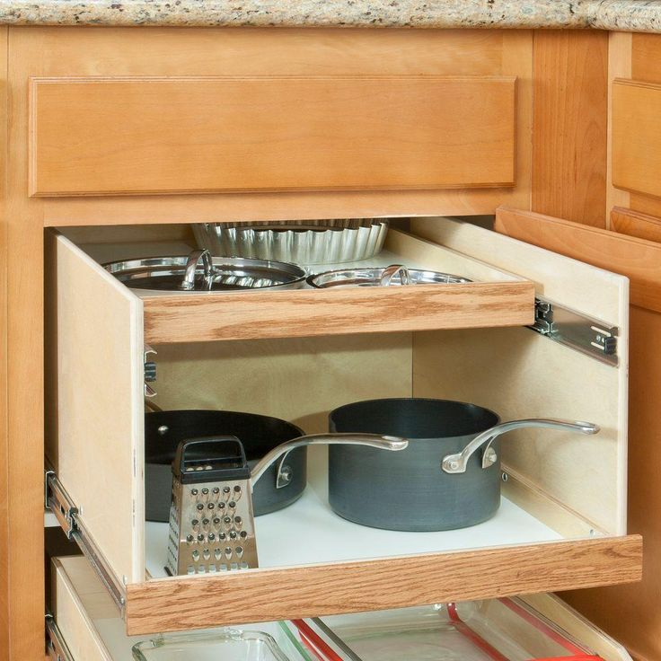 Slide-A-Shelf Made-To-Fit 12 in. to 24 in. Wide Double DekTM Slide-Out Cabinet Organizer System with Full Extension, Solid Wood Front-SAS-SI-DD at The Home Depot