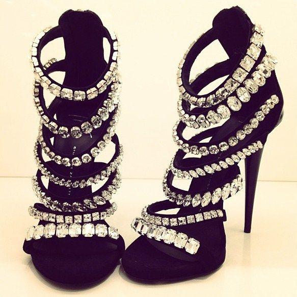 Yep, these are necessary. Strappy rhinestone heel. #black #bling #sandal