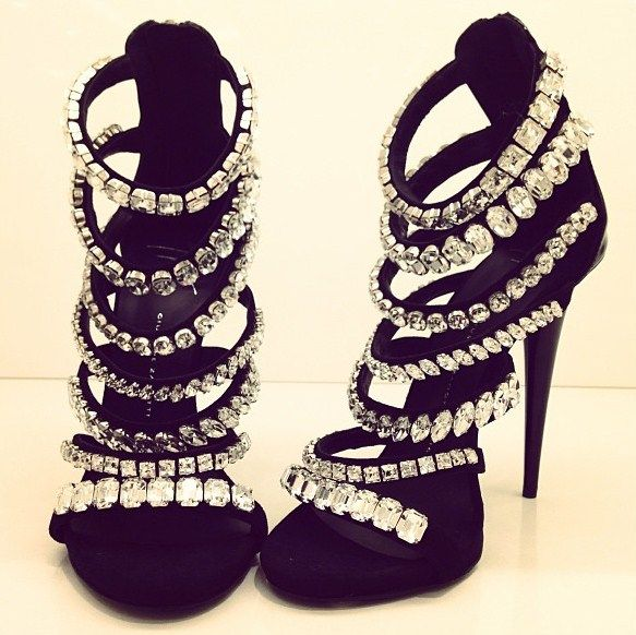 Yep, these are necessary. Strappy rhinestone heel. #black #bling #sandal