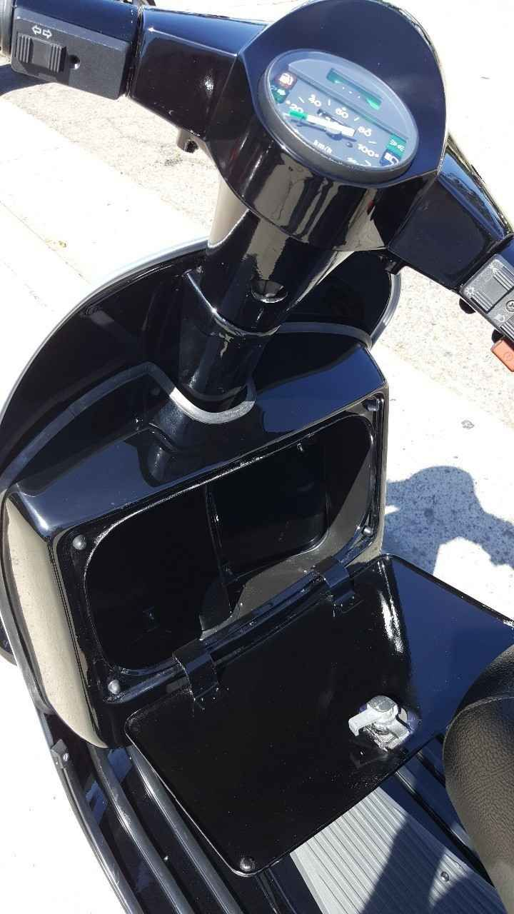 Used 1989 Vespa PX 200 Arcobaleno Motorcycles For Sale in California,CA. For sale a fully restored and blacked out 1989 Vespa PX 200. The P Series scooters make a perfect introduction to the classic scooter world. All of them can keep pace with modern traffic, and with their 12 Volt electrical system, and functional turn signals make very sensible commuters. Electric and Kick StartFront Disc Brake BITUBO front and rear adjustable shocks 2 Stroke 12 HP Newport Italian 1536 Newport Blvd. Costa…