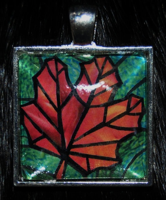 Fall Maple Leaf Pendant by KabloonaKreations on Etsy, $18.00