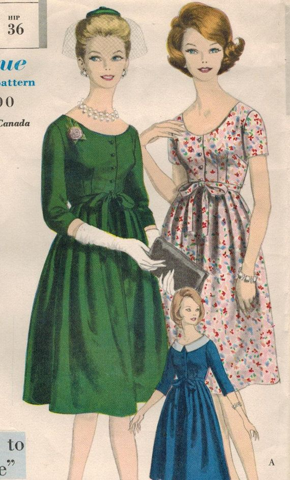 1960s Vogue 5104 Vintage Sewing Pattern Misses Maternity Dress Size 14 Bust 34