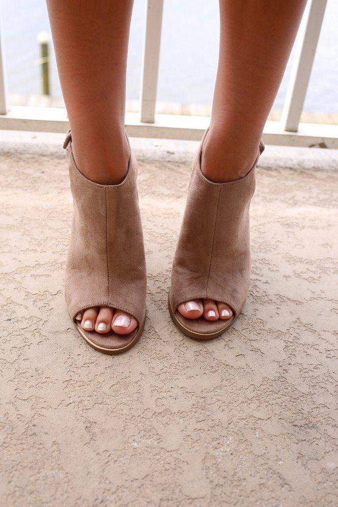 Always Dreaming Taupe Peep Toe Heels